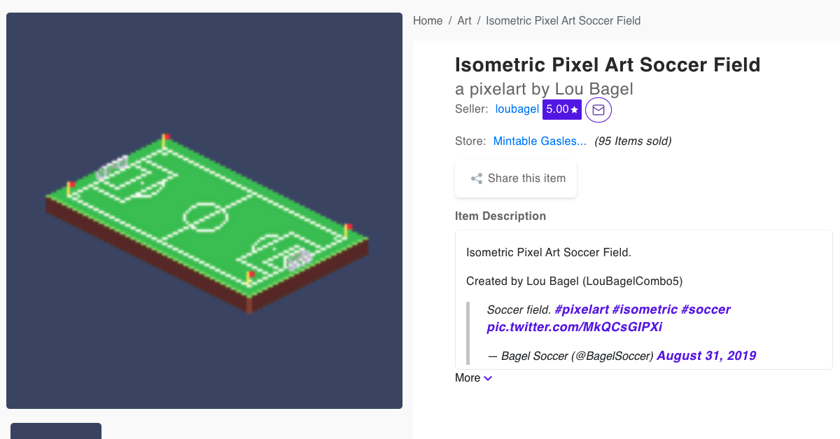 Pixel Art Isometric Soccer Field NFT on Mintable